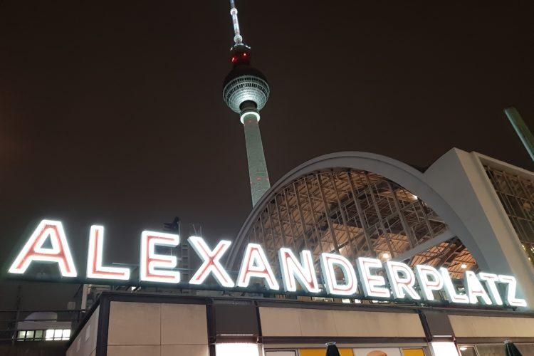 Alexanderplatz in Berlin at night