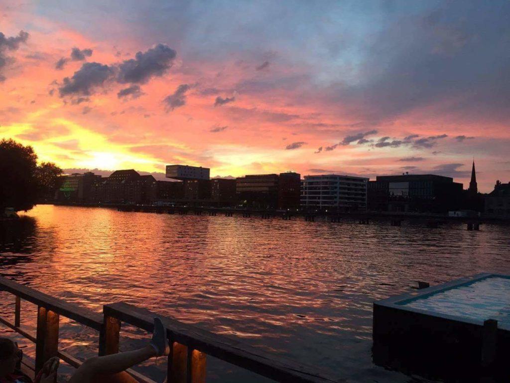 Sunset at Berlin beach bar badeshiff